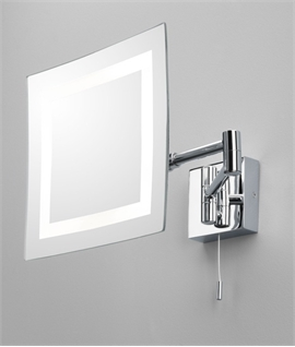 Square Vanity Mirror in Chrome with Halogen Lamp