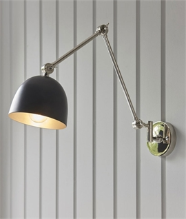 Extendable Shaded Wall Light - Brass or Chrome