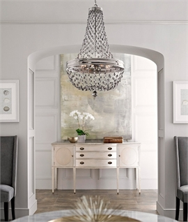 Polished Nickel Sweeping Crystal Chandelier