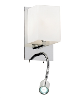 Tall Chrome Wall Light with LED Reading Arm