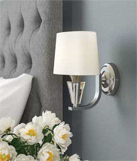 Shallow Projection Wall Light - Chrome with Crystal Glass and Oval Shade
