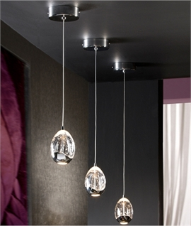 Stylish Glass LED Drop Pendant with Bubbles