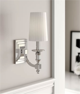 Chrome Single Arm Wall Light with Pleated White Shade