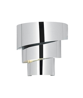 Chrome Spiral Tiered Up Down Wall Light