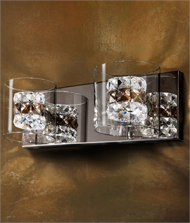 Clear Glass & Crystal Chrome Wall Light