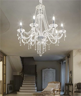 Crystal 8 Arm Chandelier with Multiple Crystal Droplets