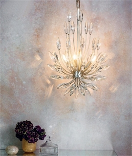 Lotus Flower Clear Crystal & Pale Gold Chandelier