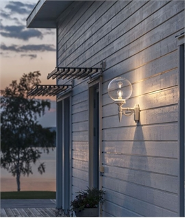 Clear Glass Globe Outdoor Wall Light - White or Black