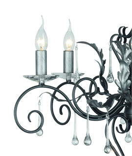 3 Light Elegant Rococo Style Chandeliers - Crystal Adorned