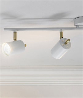 LED 4 Light Spot Bar in White & Brushed Brass Finish
