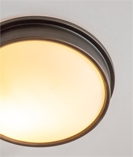 IP44 Round Flush Mounted Opal Glass Bathroom Light