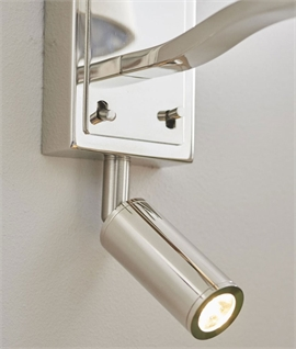 Bright Nickel Wall Light with Pivoting LED Arm & Shade