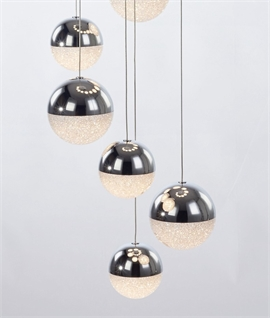 20 LED Chrome & Glitter Balls - 4 Metre Drop