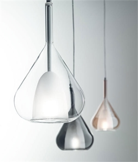 Modern 3 Light Blown Glass Cluster Pendant