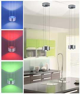 Modern Steel Pendant with Colour Changing LED