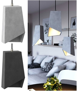 Concrete Asymmetric Pendant - Light or Dark
