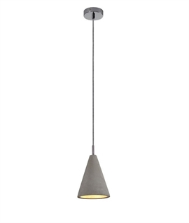Concrete Elongated Single Pendant Light