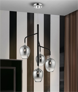 Contemporary Grey Glass & Black Detail Pendant