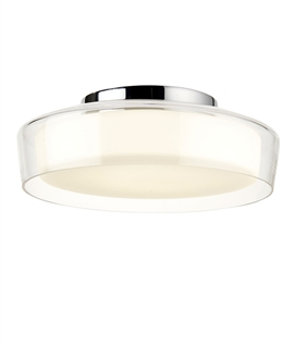 Double-Layer Chrome & Opal Glass Bathroom Ceiling Light