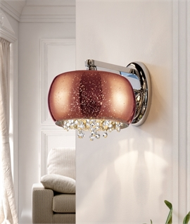 Copper Glass with Crystal Detailing Wall Light