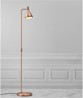 Oiled Walnut Detail Floor Light - Copper or Steel
