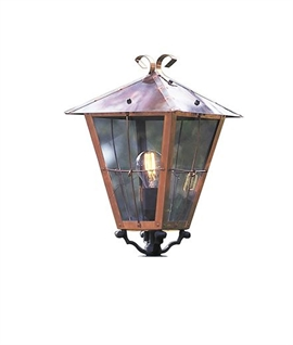 Traditional Copper Post Light with Clear Glass
