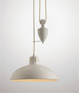 Cream Rise & Fall Ceiling Light with Counterweight