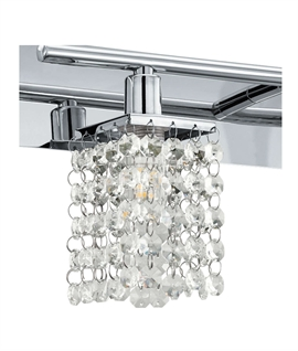 Chrome & Crystal Detailed Wall Light - IP44 Rated