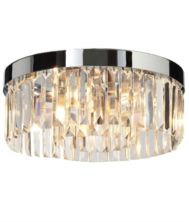 Modern Crystal & Chrome IP44 Flush Ceiling Light