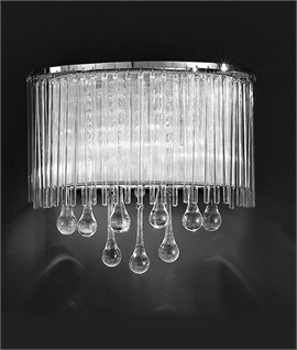 Crystal Droplet & Chrome Lurex Shaded Wall Light