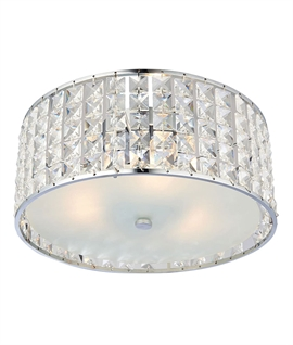 Chrome and Crystal Flush Bathroom Light IP44