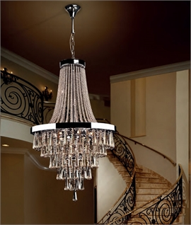 Crystal & Chrome Large Pendant for Atriums