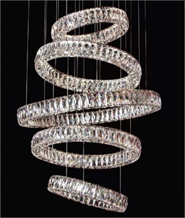 Large Crystal Ring LED Pendant with 4m Drop