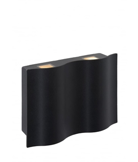Curved Black Exterior LED Wall Light