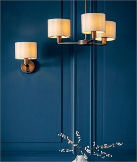 Dark Antique Bronze Chandelier with Putty Coloured Fabric Shades