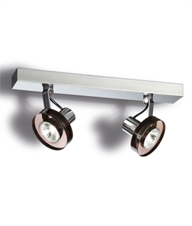 Twin Surface Mounted Spotlight - Heavy Smoked Glass