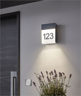 LED Glass & Black Aluminium House Plaque
