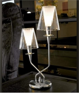 Clear Glass Double Arm Table Lamp
