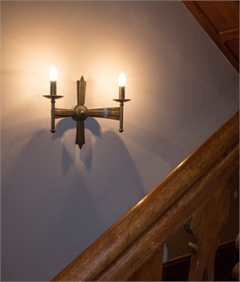 Old Bronze Wrought Iron Double Wall Light