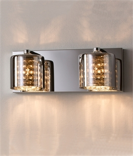 Smoked Glass, Crystal & Chrome Wall Lights
