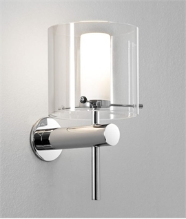 Bathroom wall lights lighting styles stylish chrome double glass wall light ip44 mozeypictures Image collections