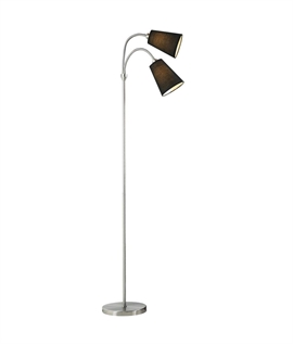 Double Black Adjustable Shade Floor Light