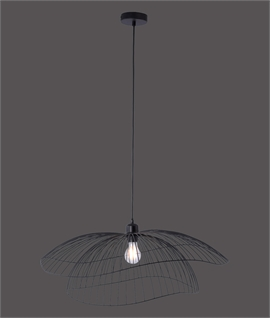Black Wire Double Shade Pendant