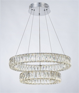 Crystal Ring Double LED Pendant Dia 600mm