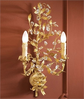 Ivory & Gold Patina Wall Light with Crystals