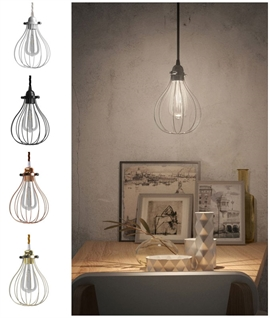 Drop Cage Pendant with LED Lamp - 4 Finishes