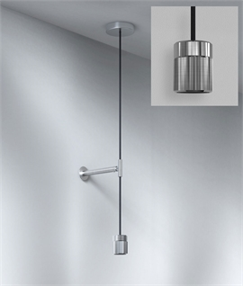 Pendant Suspension Kit with Wall Fixing - Knurled Detail