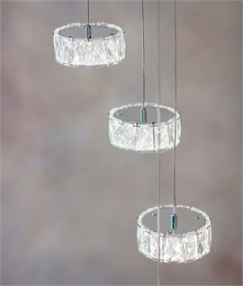 Steel & Crystal Glass LED Long Drop Pendant