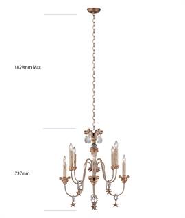 Mignon 8 Light Chandelier by Elstead - Crystal Teardrop Chandelier with Droplets