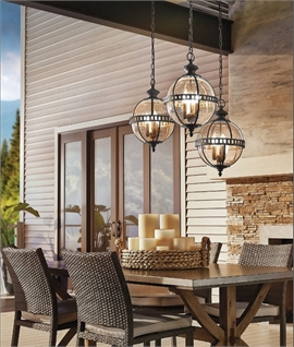 Exterior Bronze & Seeded Glass Globe Pendant - IP44